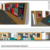 Artist's rendering of the digital display and entryway at West Point
